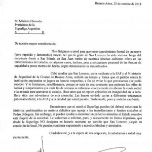 Reclamo de San Lorenzo a la Superliga Argentina