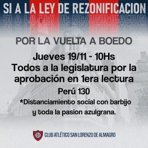 #El19NTodosALaLegislatura: nueva movilización de los hinchas de cara a la primera lectura de la Ley